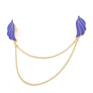Blue Open Wings Collar Tips & Chain ~ Gold